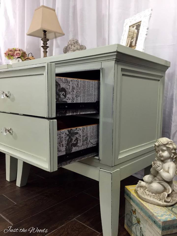 Shabby chic nightstands with surprise drawers