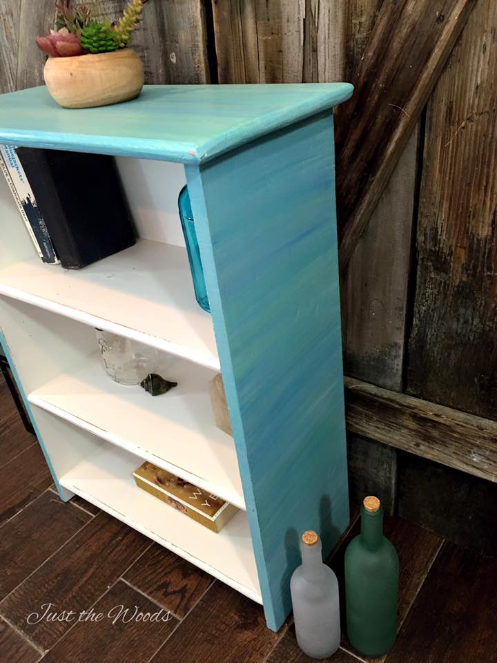 Cool Blues Bookcase sideview