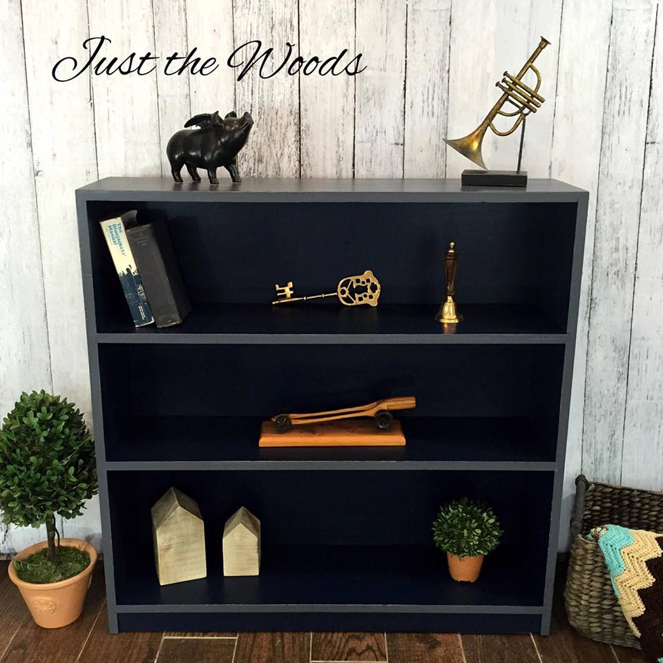 Solid wood Navy & Gray bookcase