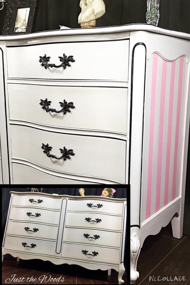 romantic striped dresser $575