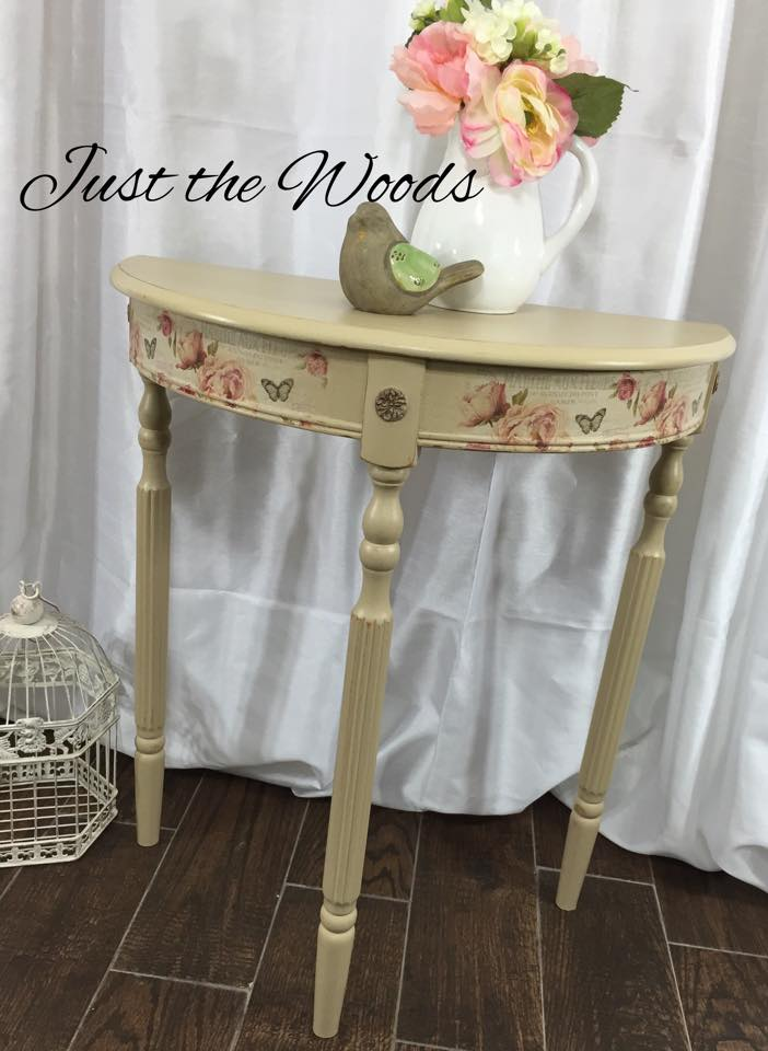 dainty cream side table $145