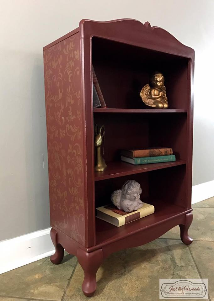 Cranberry Painted Bookcase with Gold Stencil