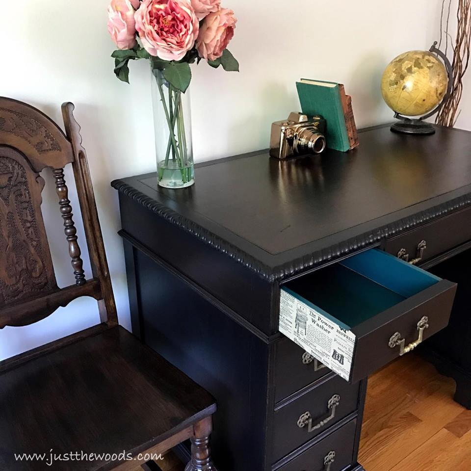 Vintage Leather Top Painted Desk