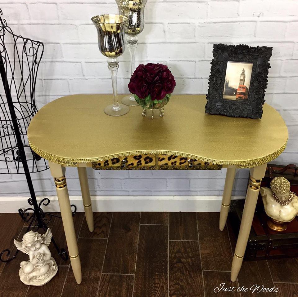 Glam Glitter Desk with Leopard Print, Stripes & Rhinestones