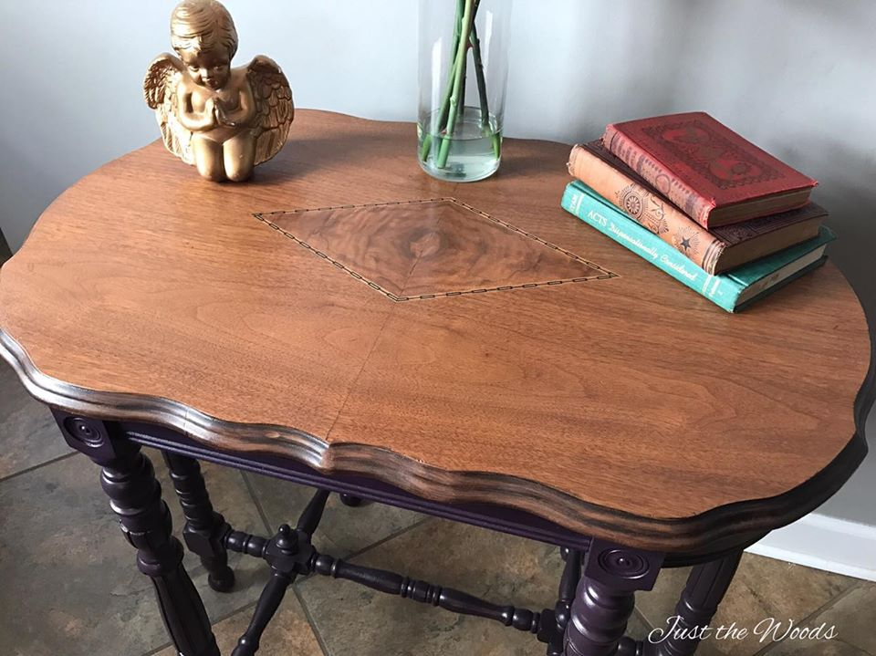 Antique Parlor Table Painted Eggplant with Stain Top