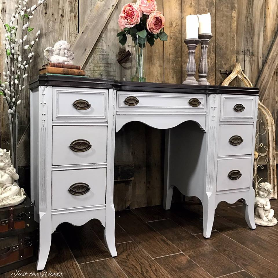 Gray Painted Vintage Desk