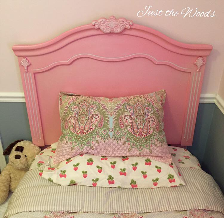 Pink and white headboard