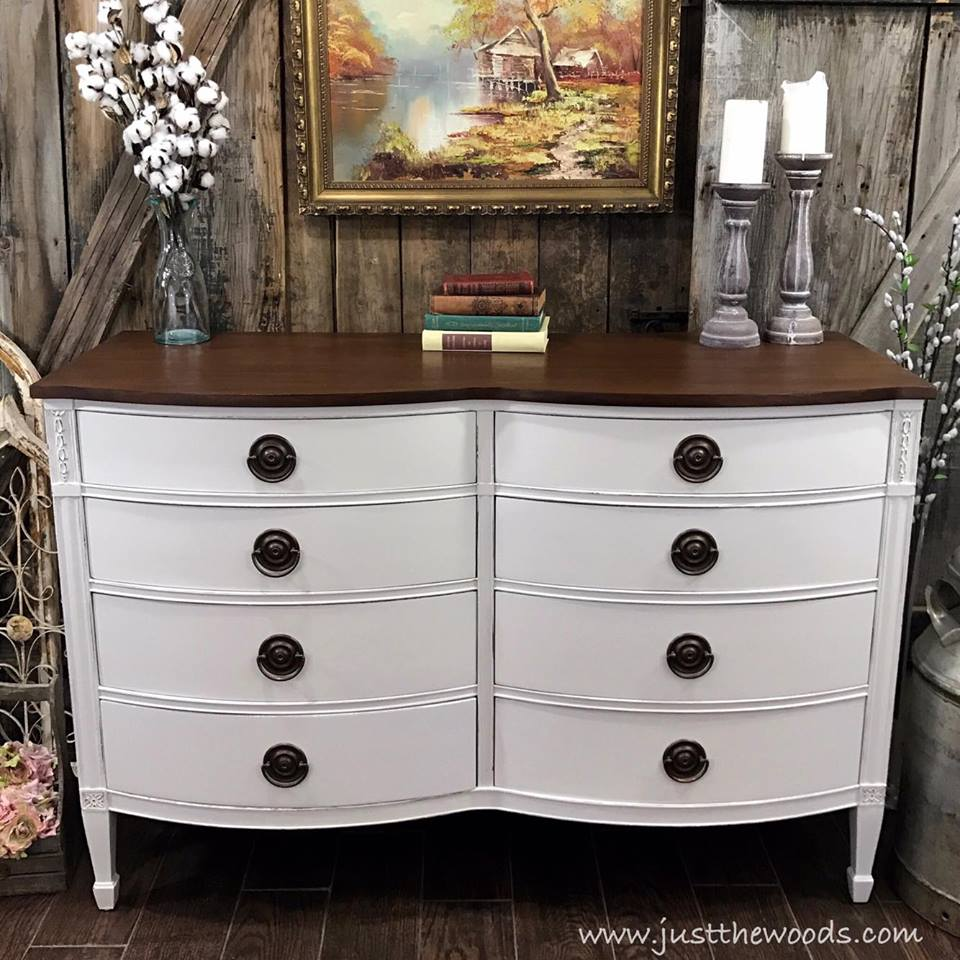 Farmhouse White Painted Dresser with Stained Top