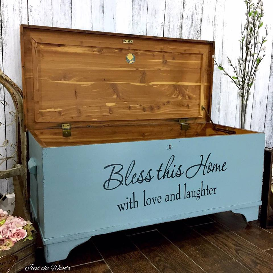 Bless This House Painted Cedar Chest