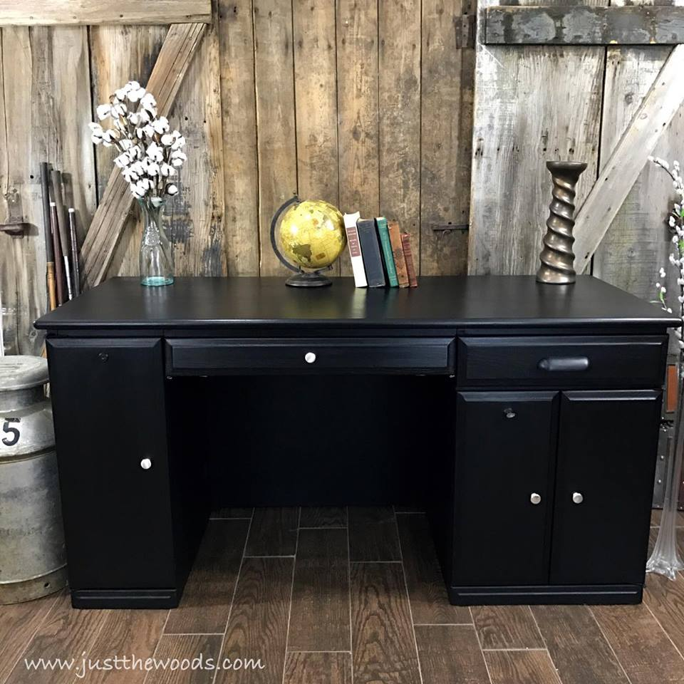 Black Painted Computer Desk