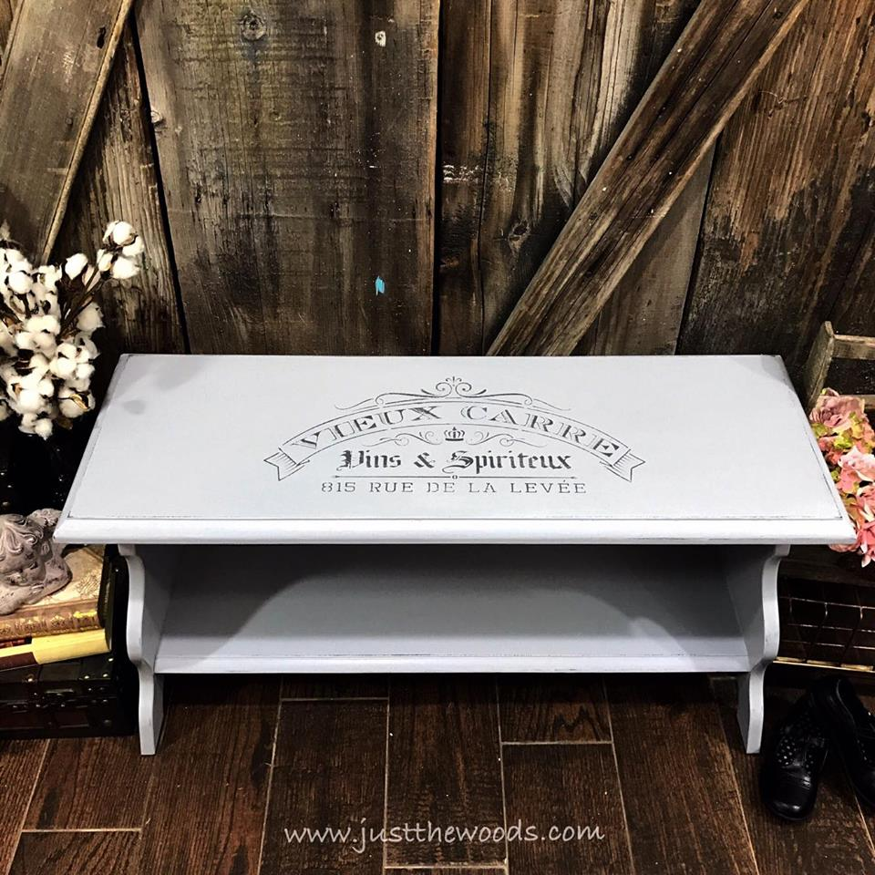 Painted Bench with French Stencil