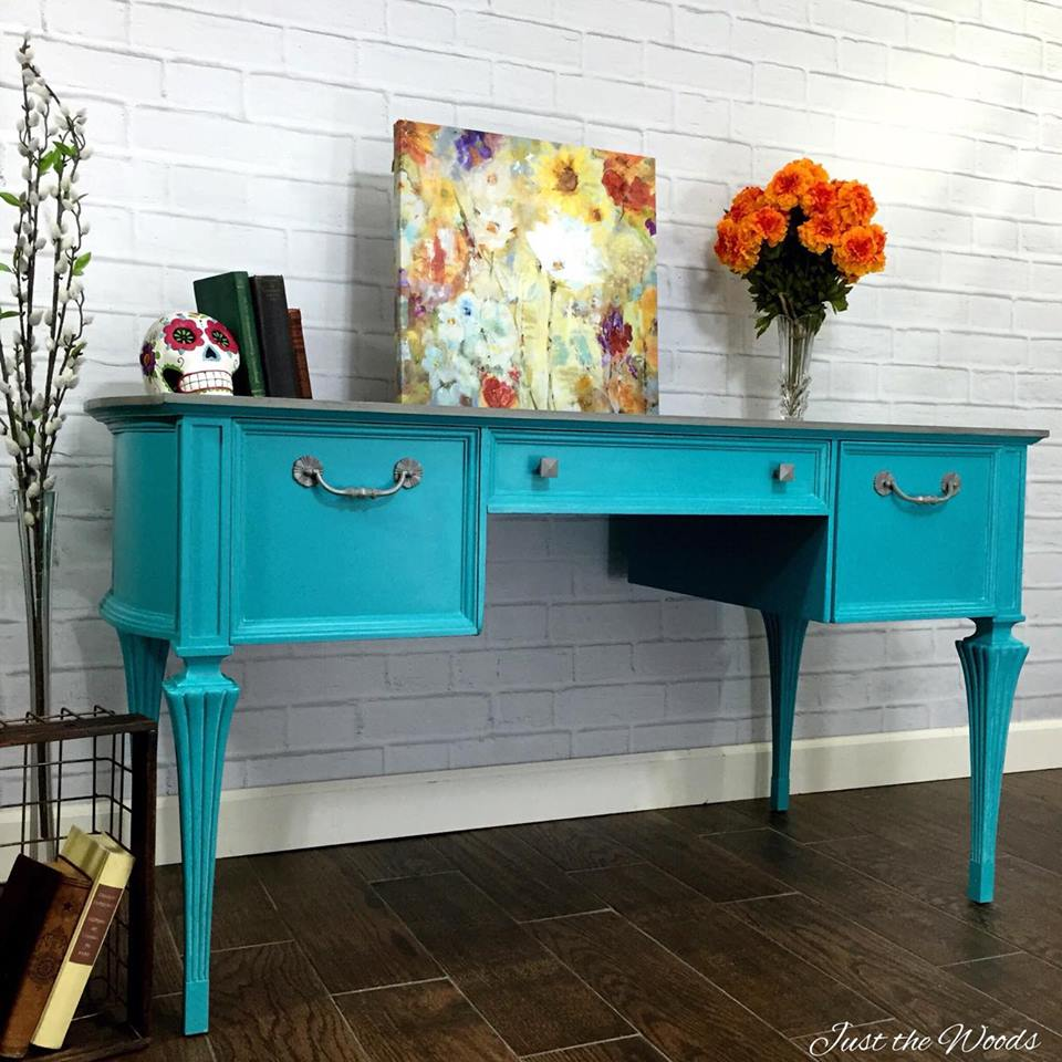 Painted Turquoise Desk with Gray Wash top