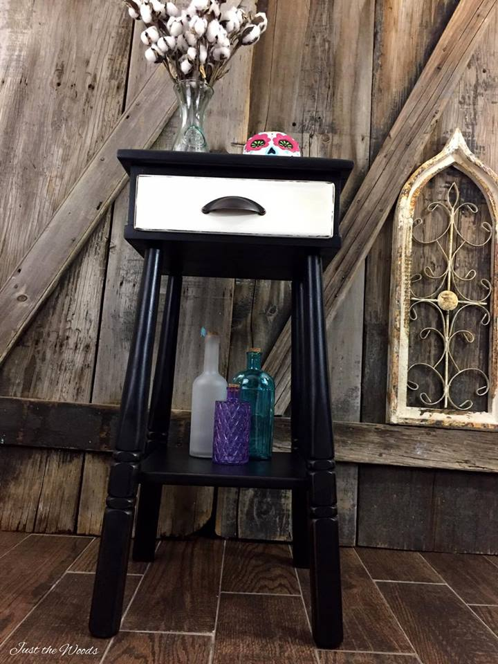 Painted Black Accent Table with Off White Drawer
