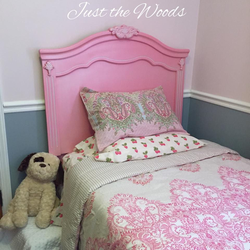 Pink and white twin headboard