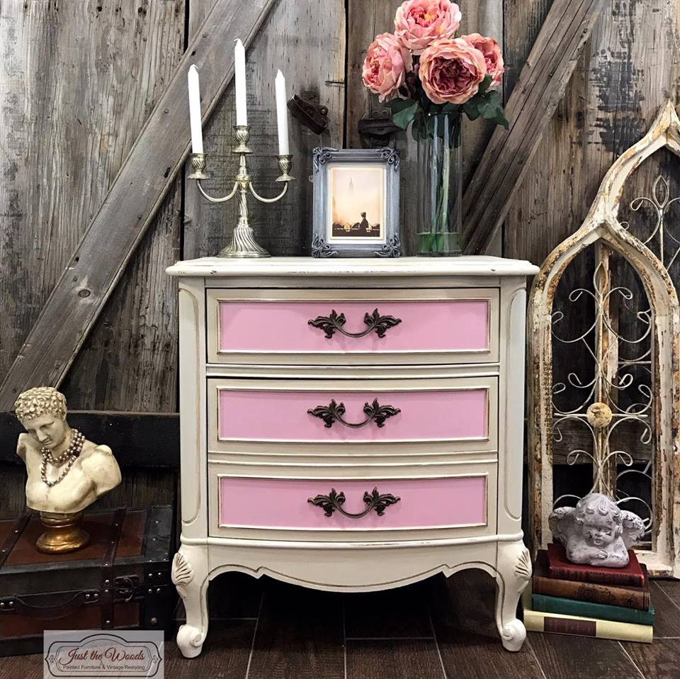 Pink and Cream Painted French Provincial Chest