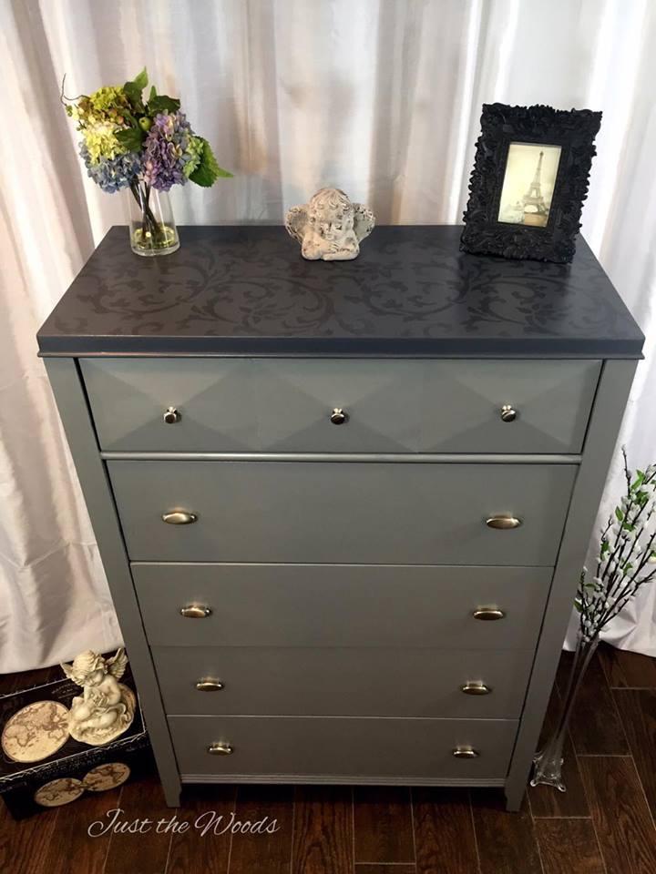 Custom dresser with tone on tone stencil