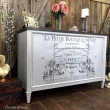 French Image transfer on Cloudy Gray buffet
