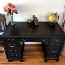 Vintage Leather Top Painted Desk