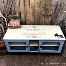 Painted Media Console with French Image