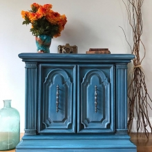 Layered Blue Painted Vintage Accent Piece