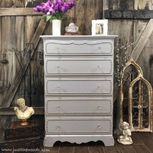 Gray Painted Dresser with Nailhead Trim