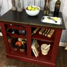 Farmhouse Red Painted Kitchen Island