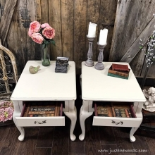 Shabby Chic End Tables with Lined Drawers