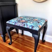 Reupholstered & Painted Vanity Seat