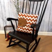 Vintage Rocking Chair Painted Black Distressed