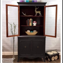 Custom Painted Charcoal China Cabinet