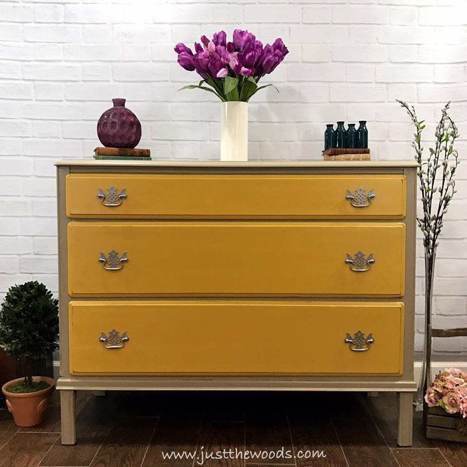 Vintage Dresser Painted Taupe with Yellow Drawers