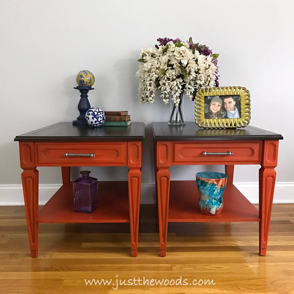 Vintage End tables and coffee tables painted orange with stain top