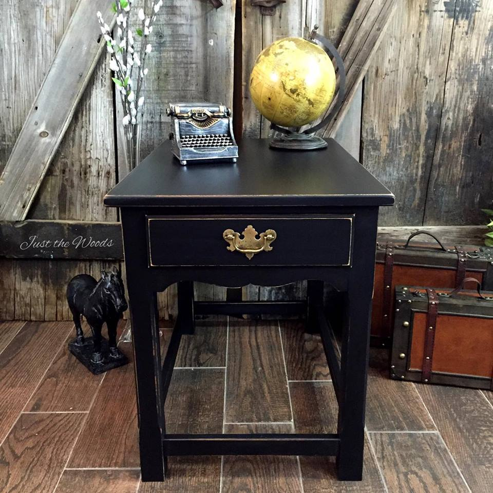 Distressed black end table