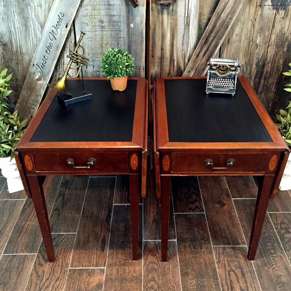 Leather top vintage drop side tables