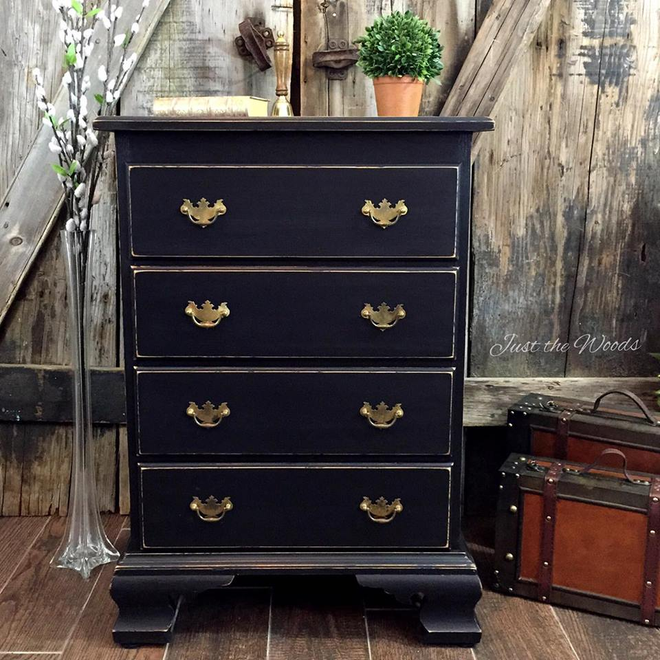 Distressed black chest of drawers