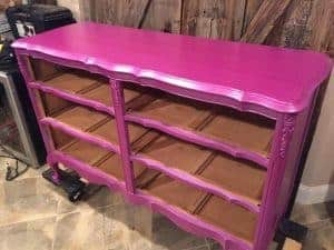 metallic paint, purple dresser, french provincial, staten island