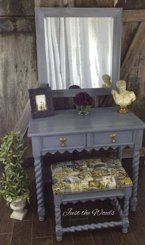 painted vanity, bombay co, barley twist, painted furniture new york