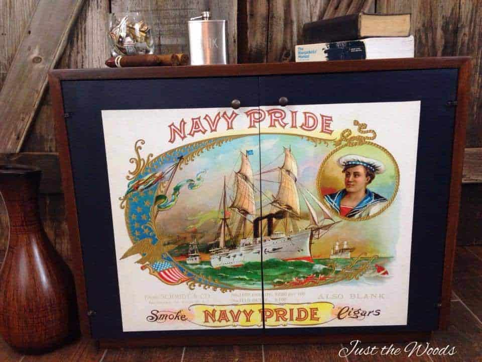 navy pride, cigar label, painted furniture, decoupaged furniture
