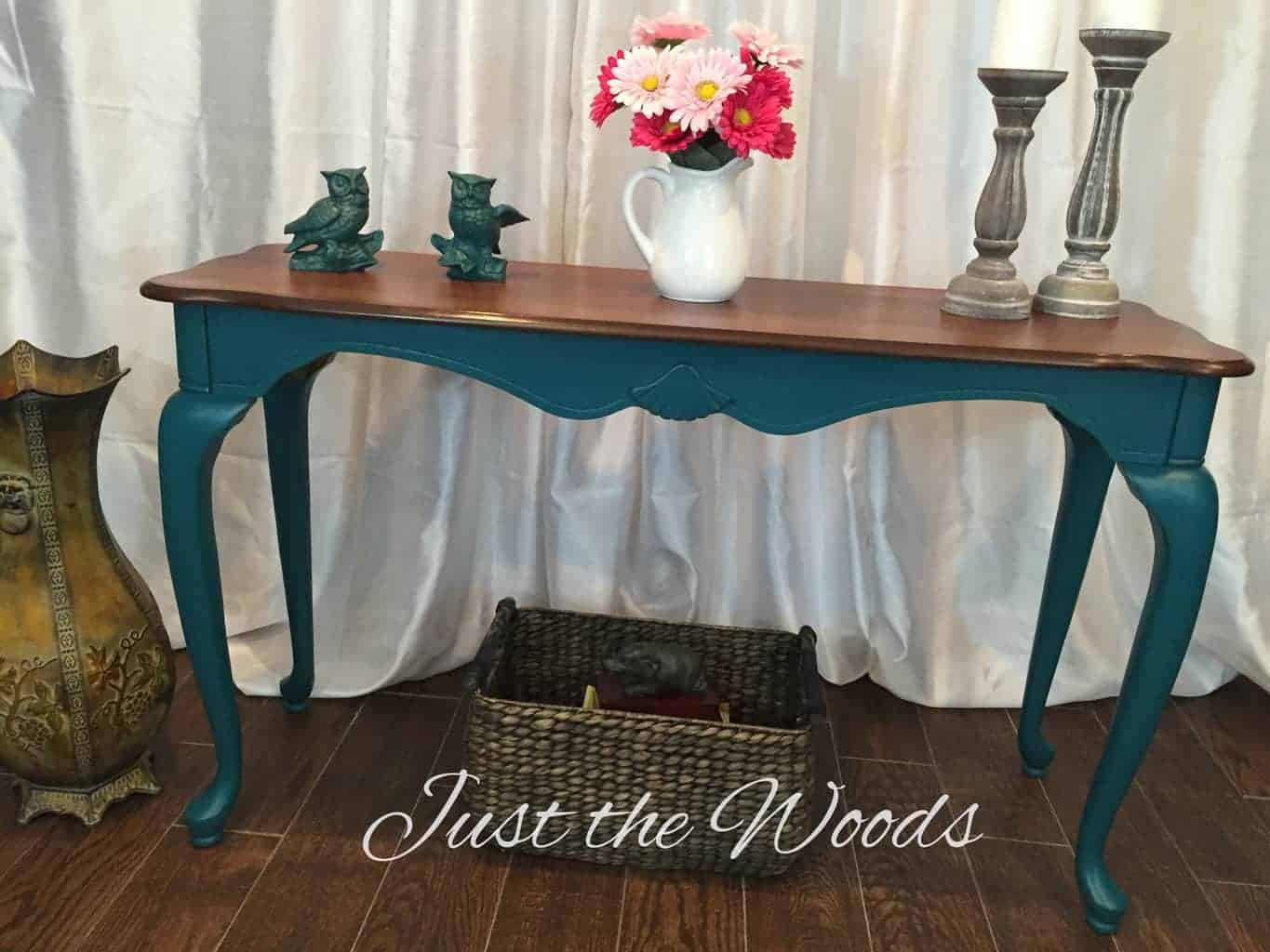 Teal Painted Sofa Table with stain top