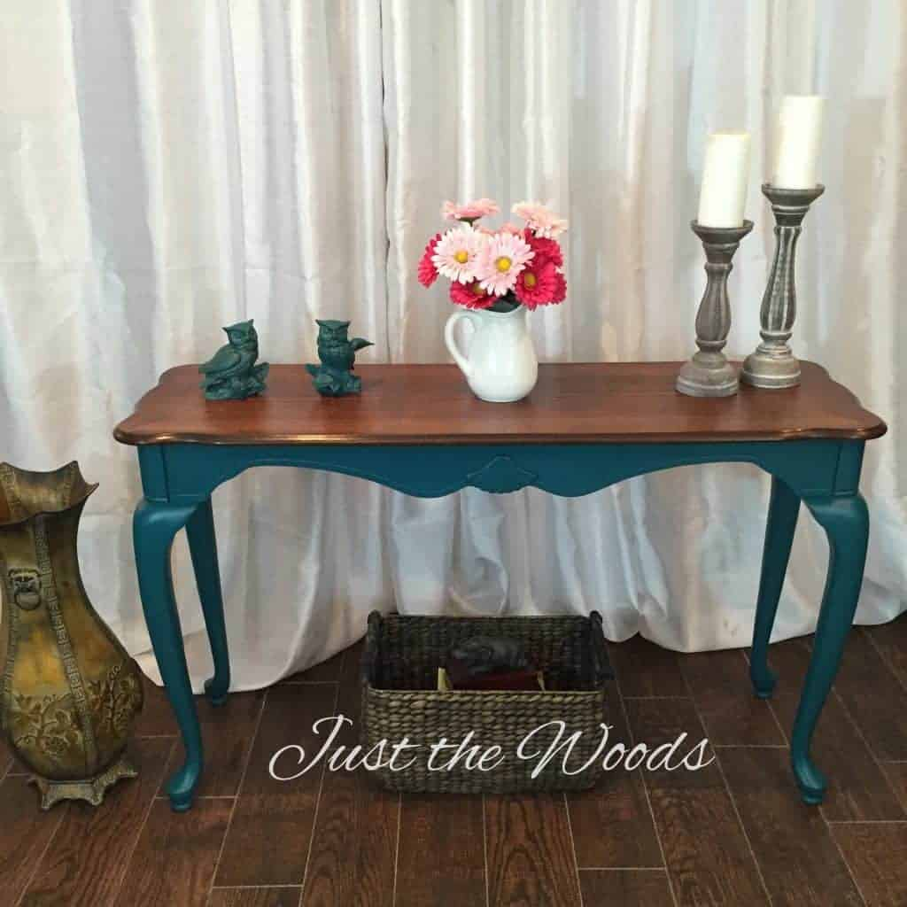 Bold Teal Painted Sofa Table by Just the Woods