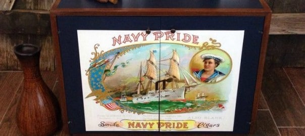 Navy Pride Decoupaged Vintage Cabinet