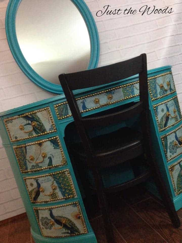 peacock, desk, vanity, painted furniture, NYC, staten island