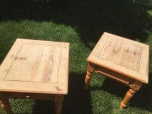 sanded tops of end tables, painting pine tables