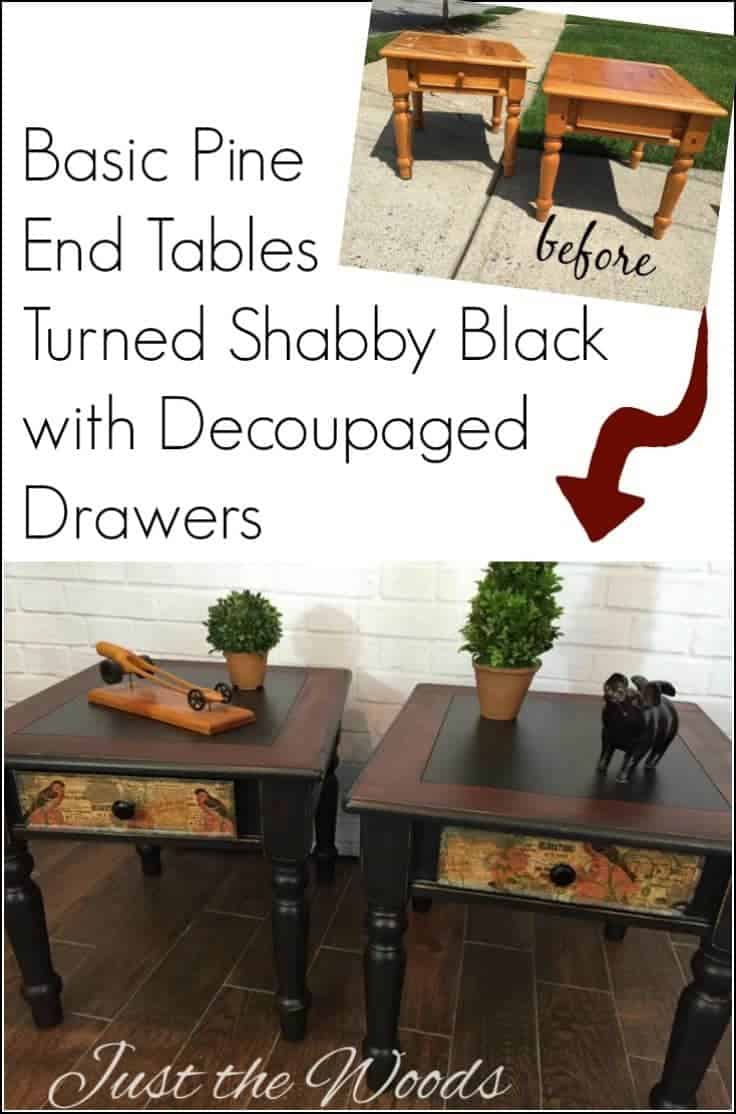 Shabby Black Painted End Tables with Decoupaged Drawers