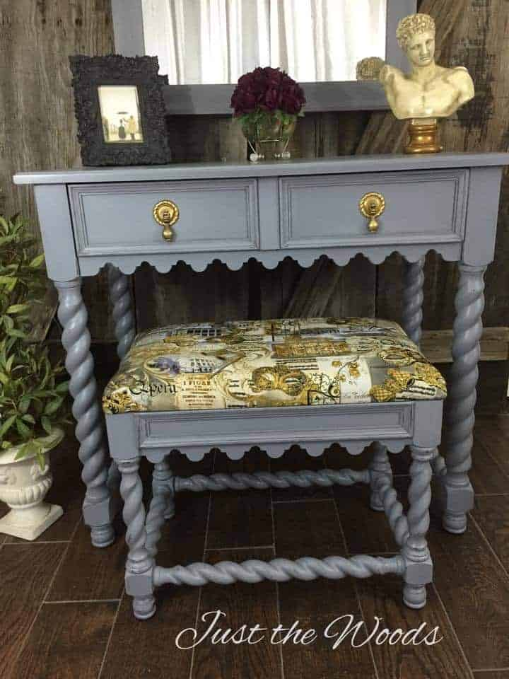 painted vanity, barley twist legs, painted furniture