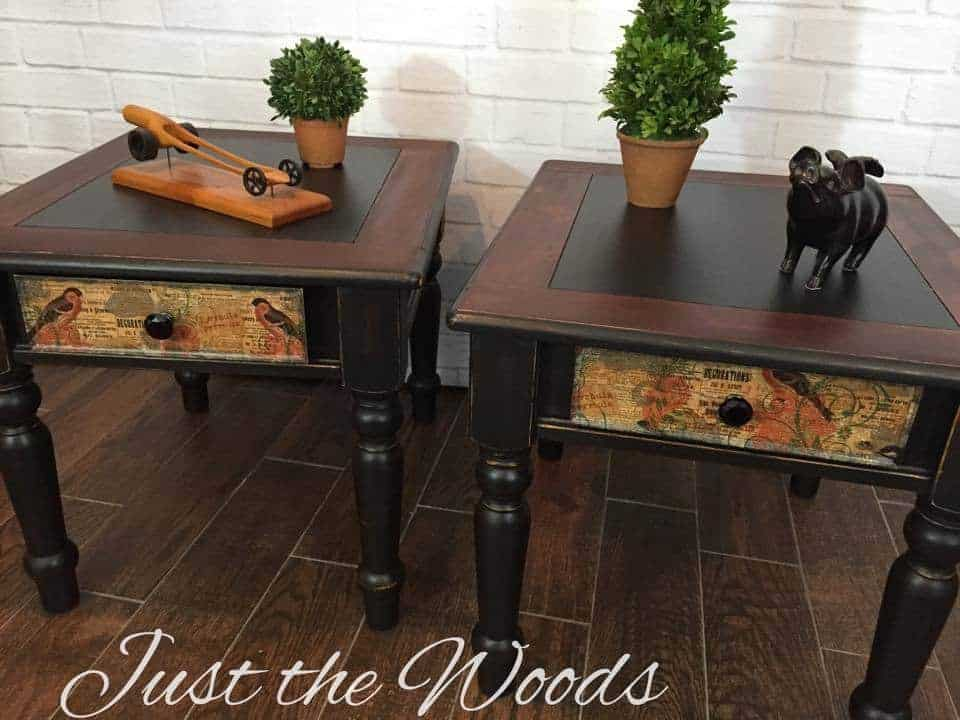 Shabby Black End tables with decoupaged Drawers
