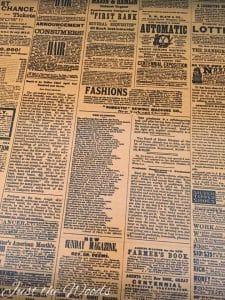 newspaper lined drawers, vintage dresser, stenciled dresser