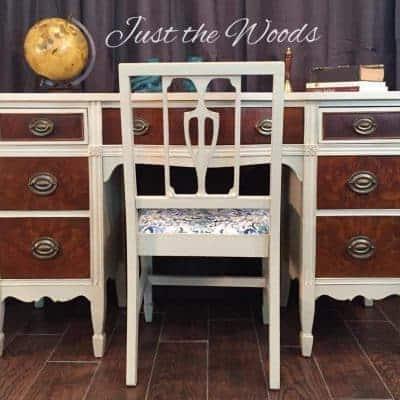 Beautiful Burl Wood Vintage Desk Makeover
