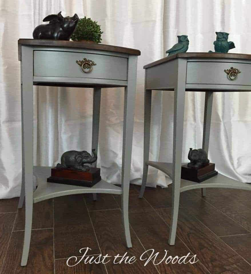 painted Mahogany tables, vintage tables, painted furniture, chalk paint, antique furniture, restored tables, just the woods, shabby chic, distressed,