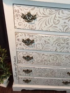 stenciled dresser, painted dresser, shabby chic, gold paint stencil
